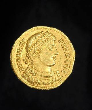 Ancient Roman Gold Solidus Christogram Victory Coin Of Emperor Valens photo