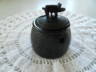 Irish Bog Oak Miniature Pot Decorated With Shamrocks & Lid With Pig On Top photo