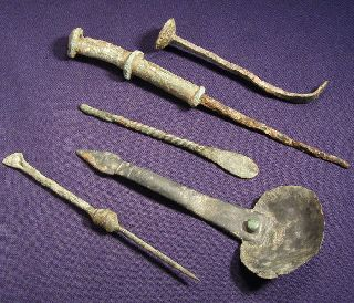 5 Roman Bronze Medical Tools photo