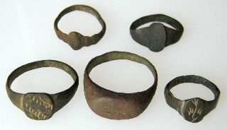 5 Roman Bronze  Rings    11.50g/18-25mm       R-315 photo