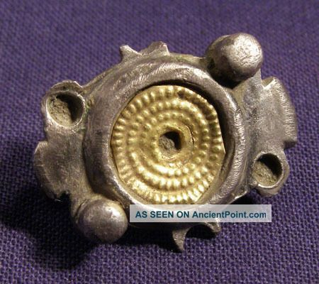 Interesting Roman Silver And Gold Brooch / Fibula Roman photo