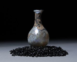 Ancient Roman Iridescent Glass Perfume Flask Unguentarium 250 A.d. photo
