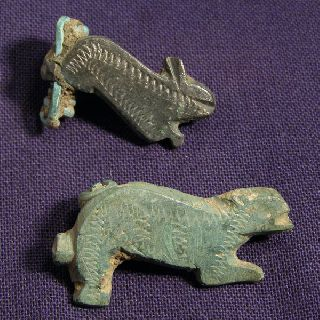 Two Roman Bronze Zoomorphic Brooch / Fibula - Rabbit photo