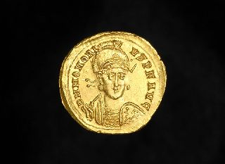Ancient Gold Solidus Constantinople Coin Of Emperor Honorius photo