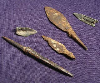 5 Roman, Celtic And Scythian Bronze And Iron Arrowhead photo