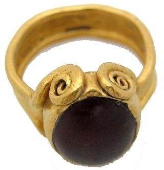 Roman  Gold  Ring  With  Red  Stone   10.50g/18x22mm       R-314 photo