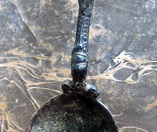 Quality Antique Italian Bronze Spoon, Ca. 1600, Found In The Netherlands. photo