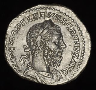 Ancient Roman Silver Denarius Coin Of Emperor Macrinus Jupiter photo