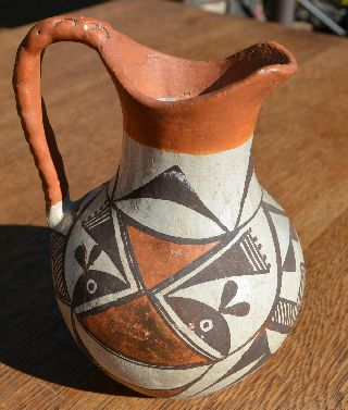 Rare Antique Acoma New Mexico Pre 1940 Pottery Pitcher Pot Excellent Condition photo