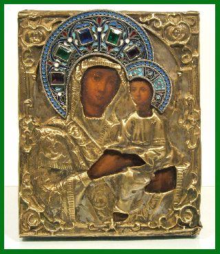Russia Orthodox Hand Painted Icon The Virgin Of Tikhvin With Riza.enamels.19th C photo