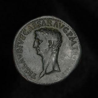 Ancient Roman Dupondius Ceres Coin Of Emperor Claudius photo