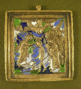 Antigue Russian Orthodox Bronze Icon Enamel 19th.cen Ikone Icona Icono photo