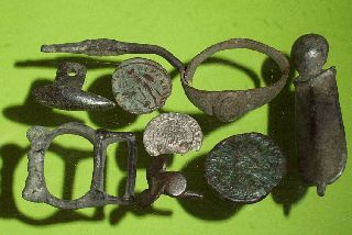 Ancient Roman Medieval Artifacts Jewelry Ring Silver Coin Antique Lot Old Buckle photo