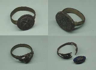 Lot 4 Different Ancient / Medievil Rings W/great Details  One Broken photo