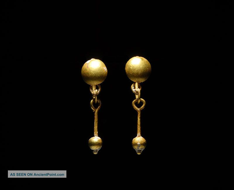 Ancient Roman Gold Shield Earrings Jewelry Roman photo