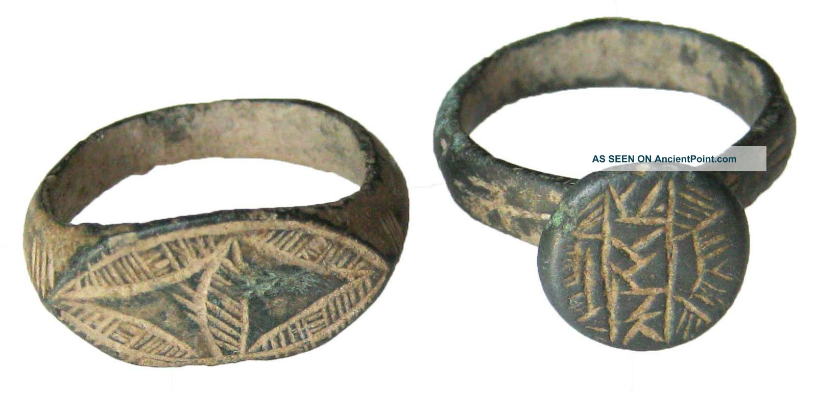 2 Roman Rings Bronze And Bellon  3.90g/22mm  5.10g/26mm     R-317 Roman photo