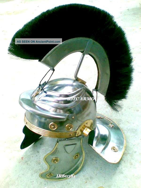 Roman Centurion Helmet With Black Plume Collectible Roman Armor Helmet Replica Roman photo