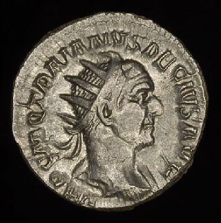 Ancient Roman Silver Antoninianus Coin Of Trajan Decius photo