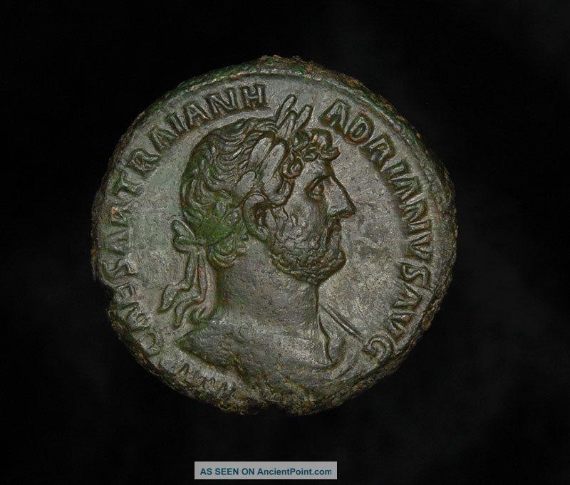 Ancient Roman As Pax Coin Of Emperor Hadrian Roman photo