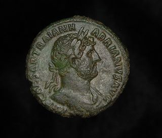 Ancient Roman As Pax Coin Of Emperor Hadrian photo
