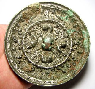 Matncat84 A Tang Dynasty Decorated Bronze Mirror Large And Heavy  B179 photo