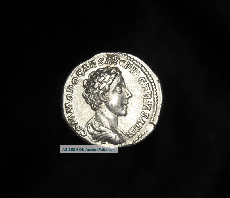 Ancient Roman Silver Denarius Hilaritas Coin Of Emperor Commodus Roman photo