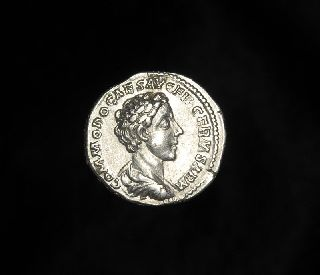Ancient Roman Silver Denarius Hilaritas Coin Of Emperor Commodus photo