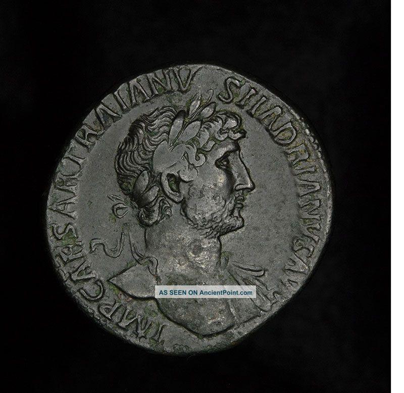 Ancient Roman Hadrian Sestertius - Felicitas Coin Roman photo