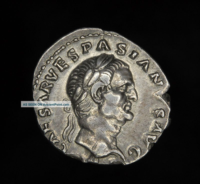 Ancient Roman Silver Denarius Coin Of Vespasian 69-79 A.d. Roman photo