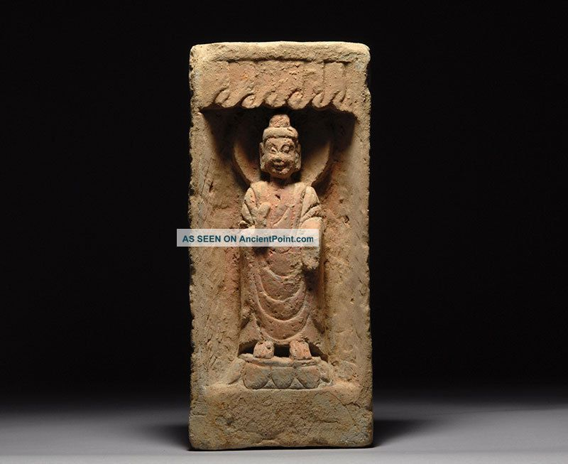 Ancient Chinese Northern Wei Dynasty Clay Pottery Buddha Shrine Far Eastern photo