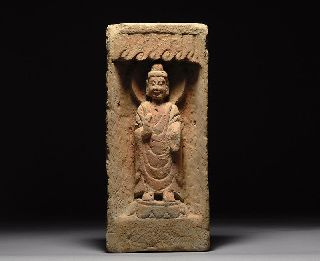 Ancient Chinese Northern Wei Dynasty Clay Pottery Buddha Shrine photo