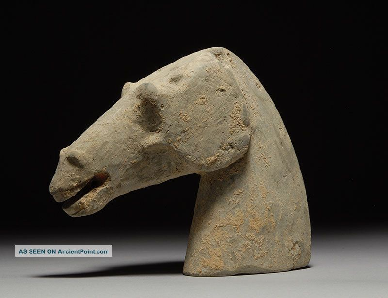 Ancient Chinese Pottery Horse Head Sculpture - Antique - Han Dynasty Far Eastern photo