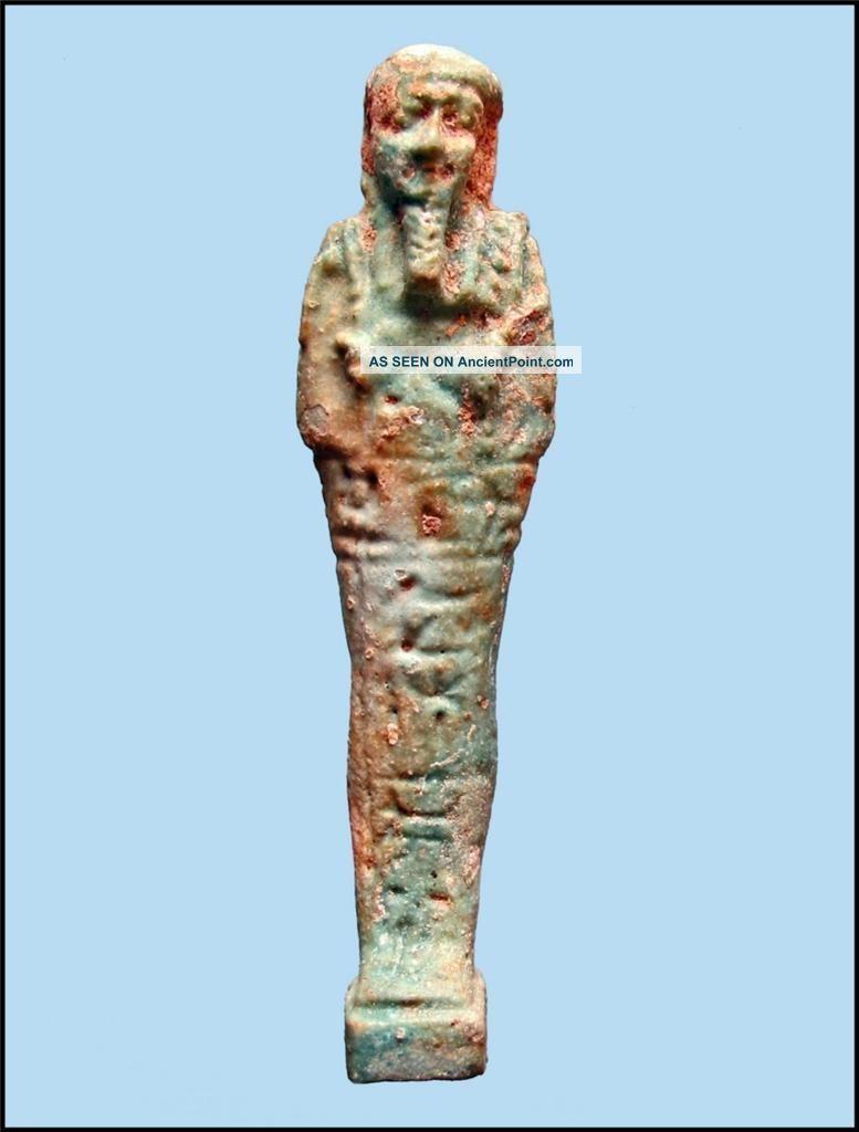 Late Dynastic Ancient Egyptian Faience Ushabti With Hieroglyphs For Pasinebu. Egyptian photo