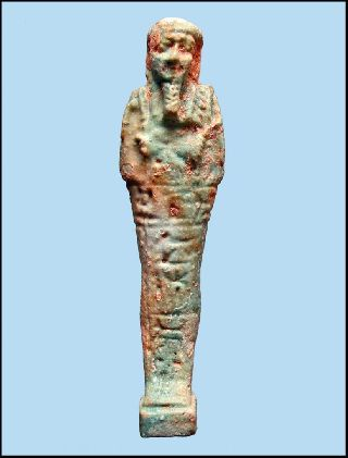 Late Dynastic Ancient Egyptian Faience Ushabti With Hieroglyphs For Pasinebu. photo