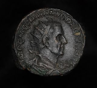 Ancient Roman Bronze Double Sestertius Of Emperor Trajan Decius photo