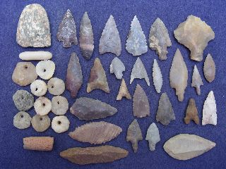 38 Sahara Neolithic Relics - Tools, Celt, Beads And 1 Paleolithic Tool photo