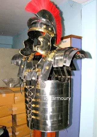 Roman Lorica Segmentata Armor With Roman Centurion Helmet With Red Plume photo