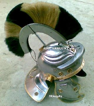 Roman Centurion Helmet With Black & White Plume Roman Armor Helmet Replica Gift photo