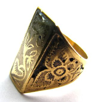 Very Fine Medieval Gold Gilt Decorated Neillo Enamel Ring Circa: 17th Century photo