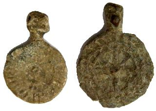 2 Roman Lead Amulets  17x25mm/ 4g   20x27mm/4.7g    R-199 photo