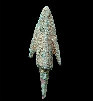 Ancient Bronze Barbed And Tanged Arrowhead Point C 1000 Bc Pre - Greek photo