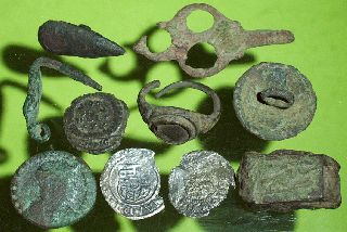 Ancient Roman Medieval Artifacts Jewelry Ring Silver Coins Key Old Lot Antique photo