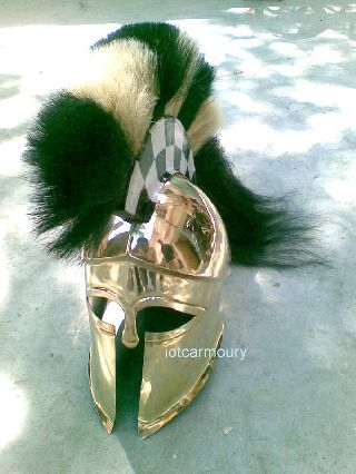 Brass Greek Corinthian Armor Helmet W/black & White Plume Collectible Replica photo
