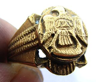 Post Medieval Gilt Decorated Signet Ring - Eagle To Bezel - 19th Century photo