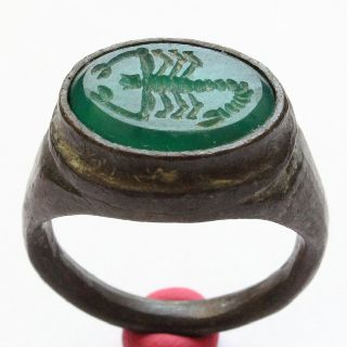 Roman Ring With Green Agate Engraved The Scorpio Symbol Bronze Ring photo