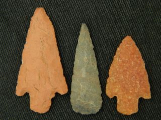 3 Neolithic Neolithique Quartz And Jasper Arrowheads - 6500 To 2000 Bp - Sahara photo