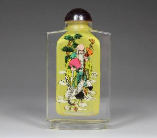 Chinese Old Hand - Carved Internal Painting Glass Snuff Bottle photo