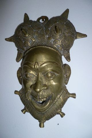 Iron And Brass Tribal Decorative Art Wall Mask - Very Old photo