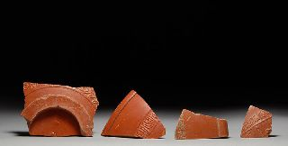 Ancient Roman Terra Sigillata Red Slip Samian Ware Vessel Fragments photo