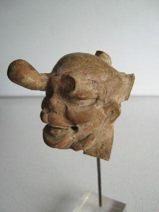 Rare Greek Hellenistic Alexandrian Ceramic Grotesque Head. Circa 1st Century Bc photo